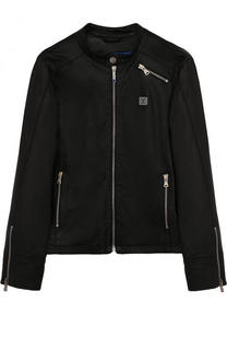 Кожаная куртка с воротником-стойкой Armani Junior