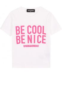 Хлопковая футболка с надписью Dsquared2