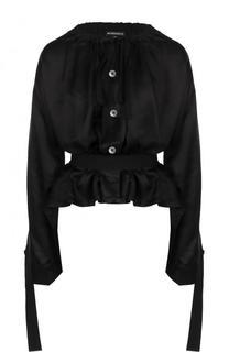 Блуза из смеси вискозы и шелка с поясом Ann Demeulemeester
