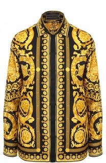 Шелковая блуза свободного кроя с принтом Versace
