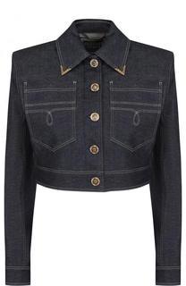 Укороченная джинсовая куртка с контрастной прострочкой Versace