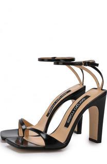Кожаные босоножки на устойчивом каблуке Sergio Rossi