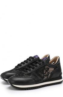 Комбинированные кроссовки с кружевной отделкой Le Silla