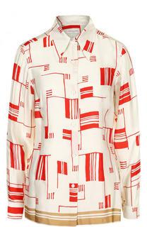 Приталенная блуза с контрастным принтом Dries Van Noten