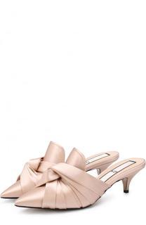 Атласные мюли на каблуке kitten heel No. 21