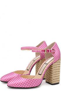 Текстильные туфли на устойчивом каблуке с декором No. 21