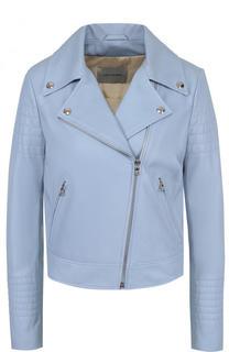 Приталенная кожаная куртка с косой молнией Yves Salomon