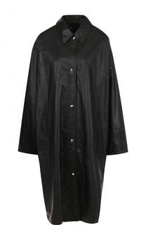 Однотонное кожаное пальто свободного кроя Yves Salomon