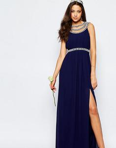 Платье макси с отделкой TFNC Tall WEDDING - Темно-синий