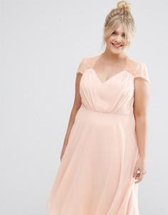 Платье миди с кружевными вставками ASOS CURVE Kate - Розовый