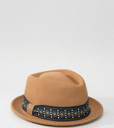 Шляпа-трилби с контрастной лентой Reclaimed Vintage - Коричневый