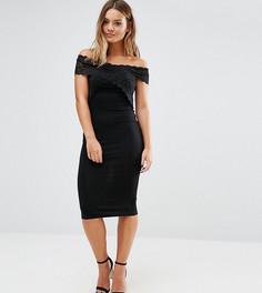 Облегающее платье миди с перекрестной кружевной отделкой ASOS PETITE - Черный