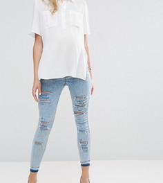 Светлые джинсы скинни с необработанным краем и посадкой под животом ASOS MATERNITY RIDLEY - Синий