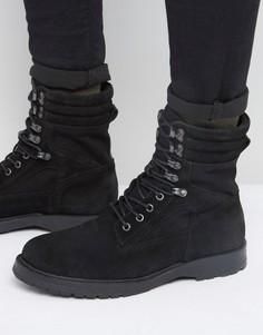 Черные замшевые армейские ботинки River Island - Черный