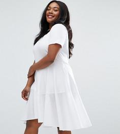 Короткое приталенное платье-футболка с тканой хлопковой вставкой ASOS CURVE - Белый
