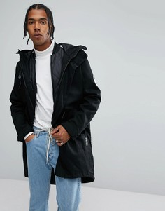 Черная парка в стиле милитари с отстегиваемой курткой adidas Originals BR7001 - Черный