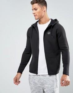 Худи черного цвета на молнии с логотипом Hollister Athletic - Серый