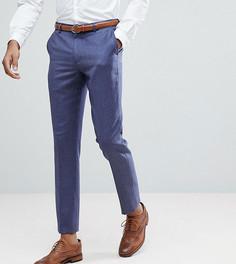 Темно-синие узкие брюки из 100% мериносовой шерсти ASOS TALL WEDDING - Синий