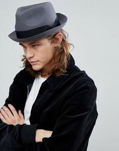 Темно-серая шляпа с вмятиной на тулье ASOS - Серый