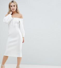 Платье миди на молнии спереди ASOS PETITE - Кремовый