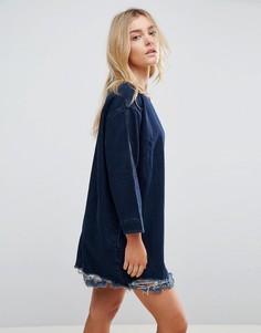Джинсовое платье с необработанным краем Waven Eira - Темно-синий