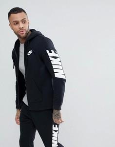 Черный худи на молнии с принтом на рукавах Nike Hybrid 885945-010 - Черный