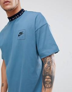 Синяя футболка с отделкой кантом Nike Air 886068-437 - Синий