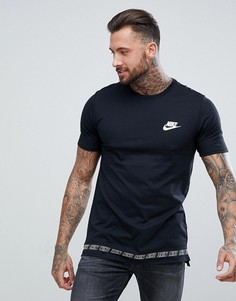 Черная удлиненная футболка Nike AV15 892056-010 - Черный