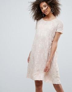 Свободное кружевное платье с принтом Traffic People - Бежевый