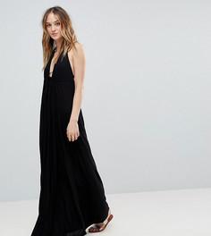 Пляжное трикотажное платье макси с глубоким вырезом и завязкой ASOS TALL - Черный