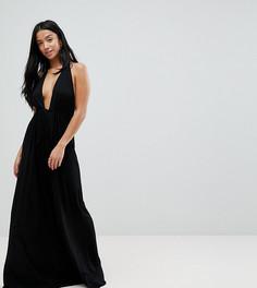 Пляжное платье макси с глубоким вырезом и завязкой ASOS PETITE - Черный