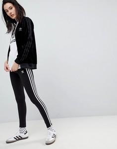 Черные леггинсы с тремя полосками adidas Originals - Черный