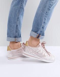 Розовые бархатные кроссовки Nike Cortez - Розовый