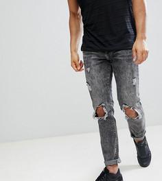 Рваные узкие джинсы с эффектом кислотной стирки Brooklyn Supply Co - Синий