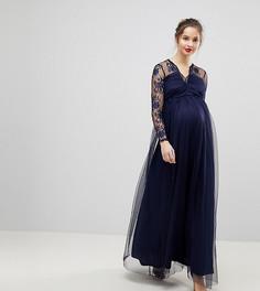 Кружевное платье макси с длинными рукавами ASOS Maternity - Темно-синий