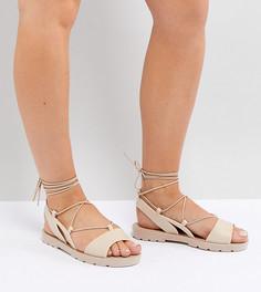 Резиновые сандалии для широкой стопы с завязками ASOS FIZZLE - Бежевый