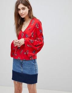 Топ с цветочным принтом и расклешенными рукавами Influence - Красный
