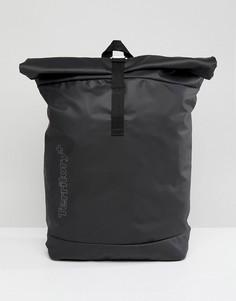 Рюкзак с подворачивающимся верхом, внутренним отделением для ноутбука, черной прорезиненной отделкой и принтом ASOS - Черный