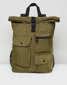 Выбеленный рюкзак цвета хаки с подворачивающимся верхом и карманами ASOS - Зеленый