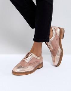Кожаные туфли на плоской подошве ASOS MUNICH - Бежевый