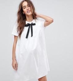 Свободное платье с люверсами и корсажной лентой ASOS Maternity - Белый