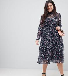 Приталенное платье миди с высоким воротом ASOS CURVE - Мульти