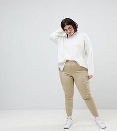 Укороченные эластичные облегающие брюки с боковыми карманами на молнии ASOS CURVE - Бесцветный