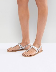 Кожаные сандалии на плоской подошве ASOS FEELS - Серебряный
