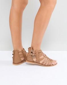 Кожаные сандалии-гладиаторы ASOS FOZ - Рыжий