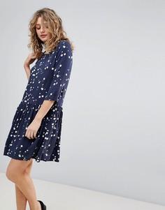 Свободное платье с принтом Ichi - Темно-синий