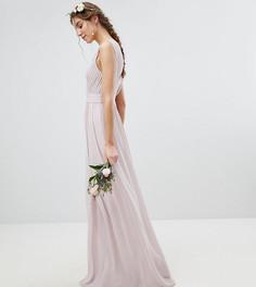 Декорированное платье макси с запахом TFNC Tall WEDDING - Коричневый