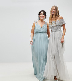 Платье макси с запахом и декоративной отделкой TFNC Plus WEDDING - Зеленый