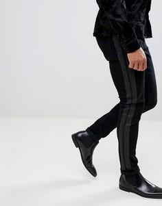 Черные джинсы скинни с полосками по бокам ASOS - Черный