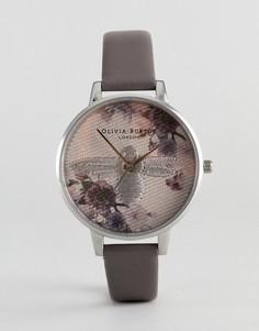 Серые часы с кожаным ремешком и цветами Olivia Burton OB16EM05 - Серый